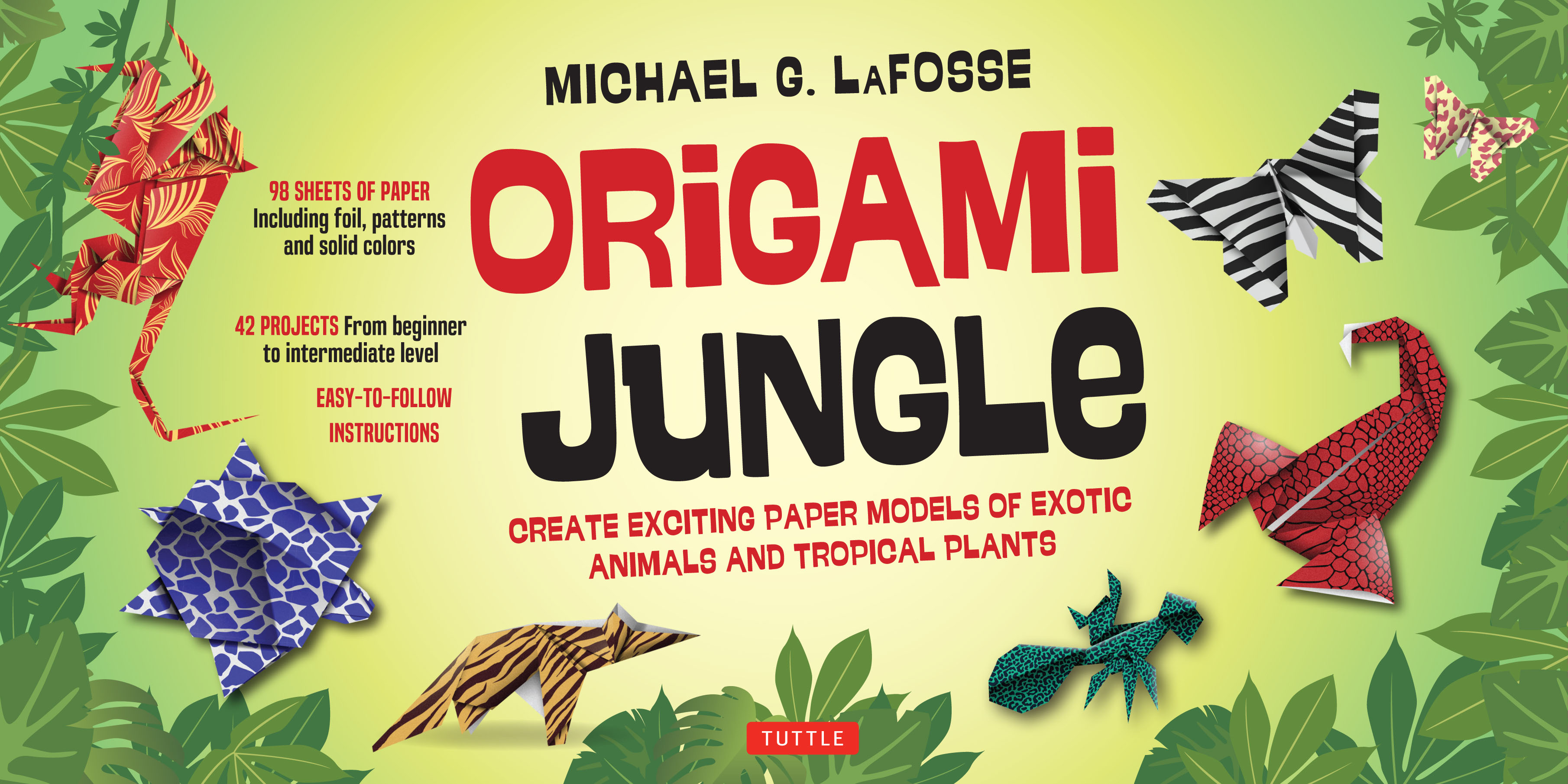 Origami jungle newsouth books make colorful and simple origami animals and their jungle habitats with this easy origami kit anteaters chameleons lemurs and lizards are just a few of jeuxipadfo Choice Image