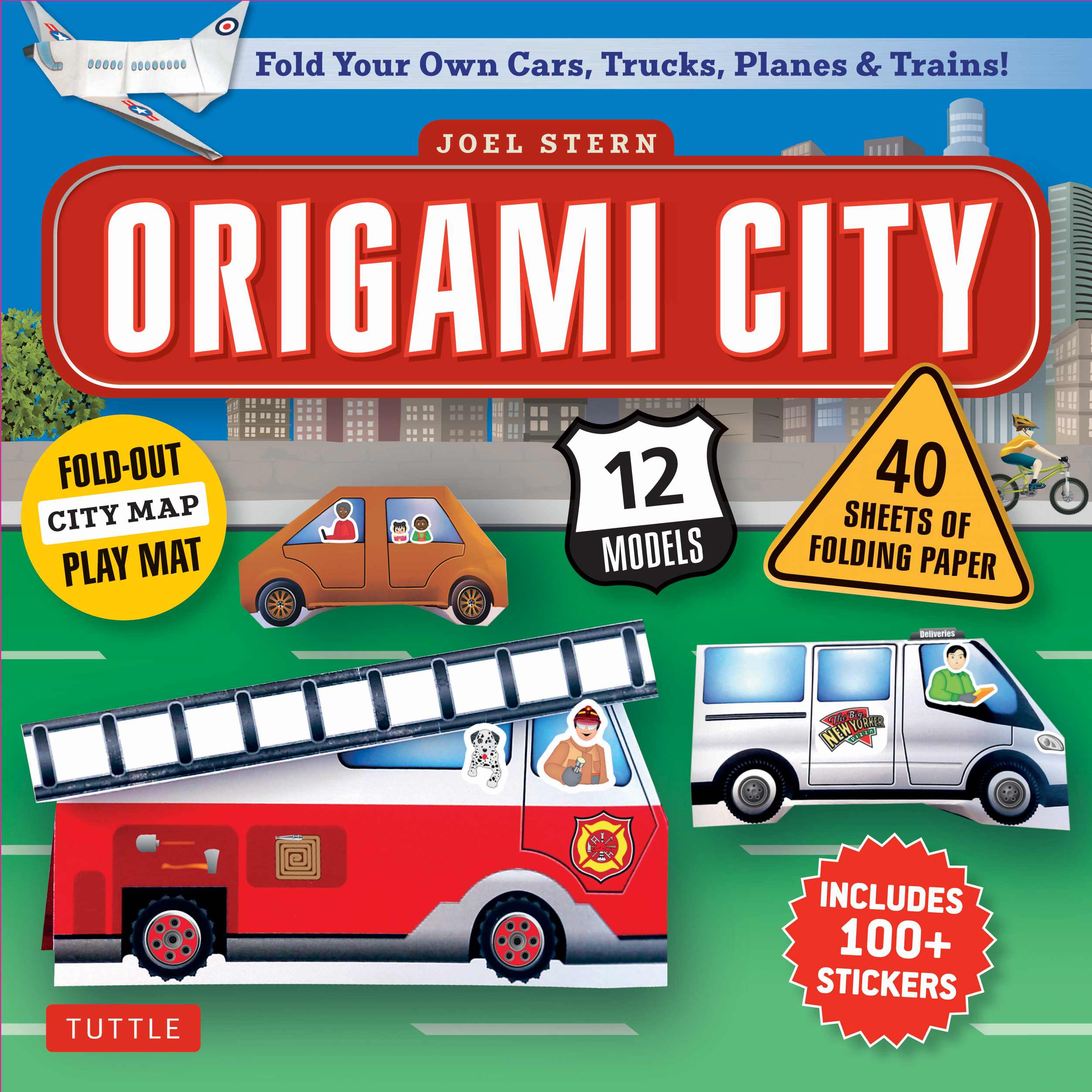 Origami City Kit Contains 40 Colorful Papers For Exciting Models Like Trains Cars Firetrucks Helicopters Motorcycles And Delivery Vans